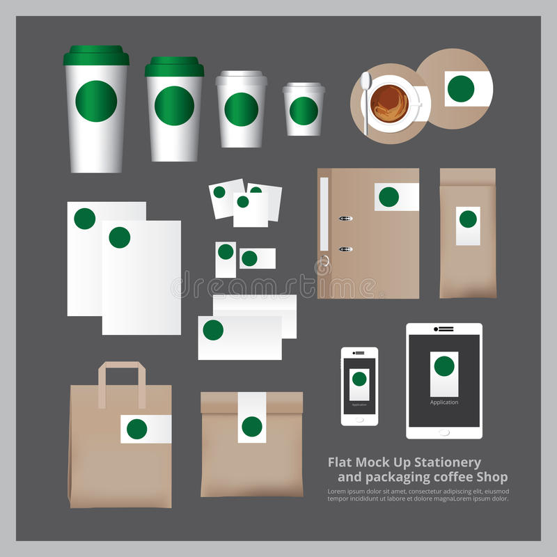 Flat Mock Up Stationery and packaging Coffee Shop royalty free illustration