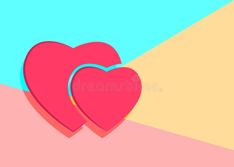 Flat modern art design graphic image of pink paper hearts icon o. N pastel colored pink and blue background, feelings, human, isolated, decoration, relations vector illustration