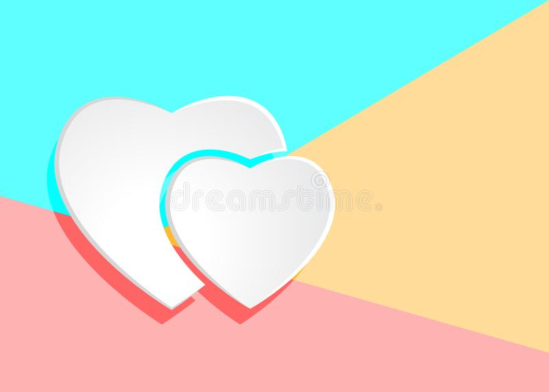 Flat modern art design graphic image of white paper hearts icon. On pastel colored pink and blue background royalty free illustration