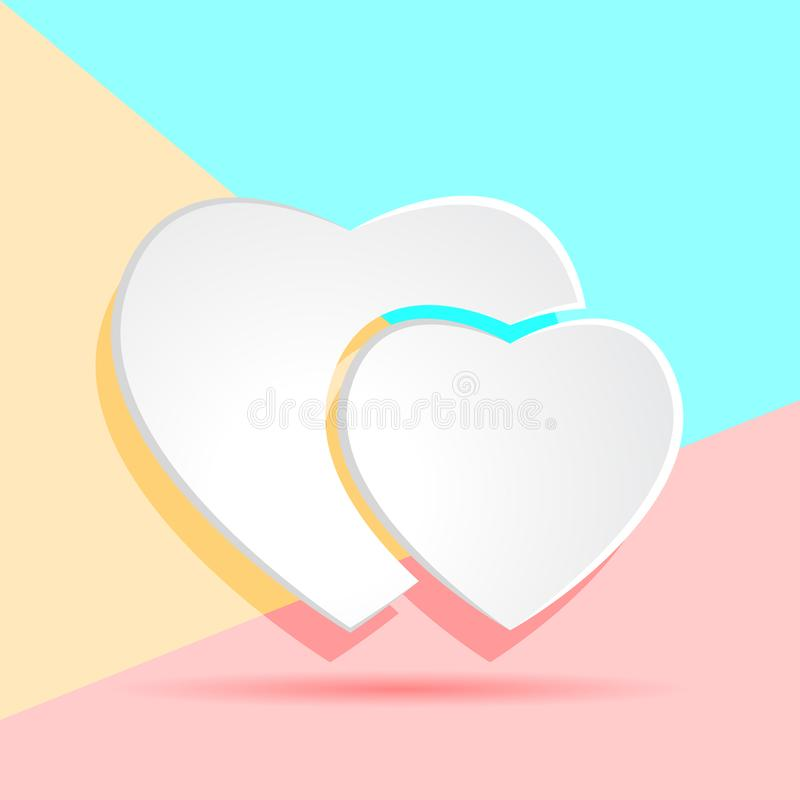 Flat modern art design graphic image of white paper hearts icon. On pastel colored pink and blue background stock illustration