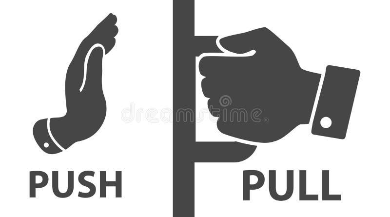 Flat modern black push and pull icon on white background. royalty free illustration