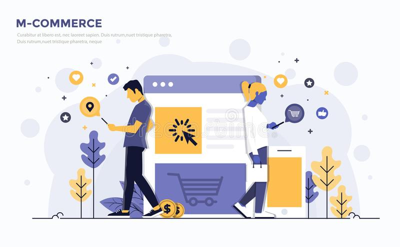 Flat Modern Concept Illustration - M-Commerce. Modern Flat design people and Business concept for M-Commerce, easy to use and highly customizable. Modern vector stock illustration