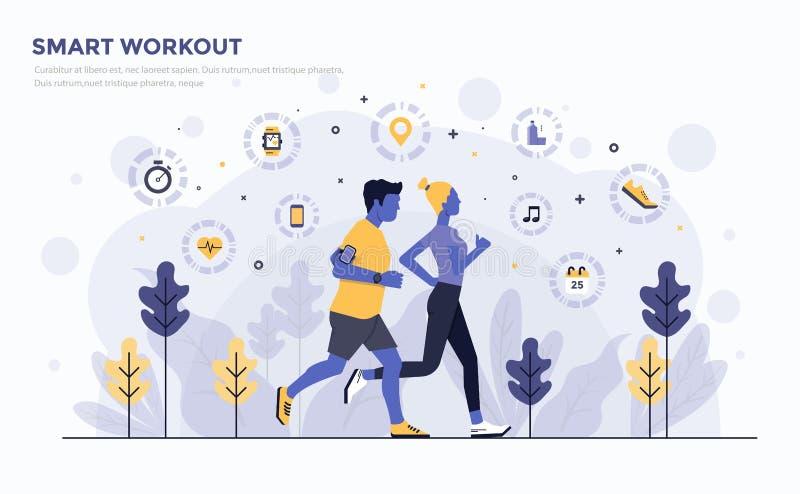 Flat Modern Concept Illustration - Smart Workout vector illustration