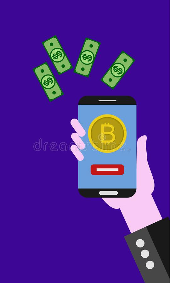 Flat modern design concept of cryptocurrency technology, bitcoin exchange, mobile banking. vector illustration