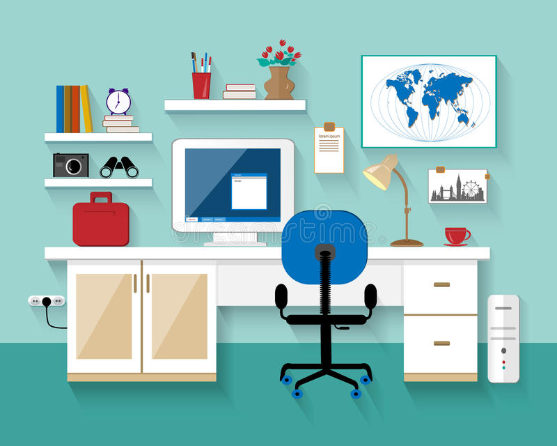 Flat modern design vector illustration of workplace in room. ?reative office room interior. Minimalistic style. Flat design with l. Flat modern design vector royalty free illustration