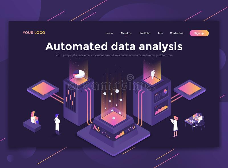 Flat Modern design of website template - Automated data analysis. Modern flat design isometric concept of Automated data analysis for website and mobile website royalty free illustration