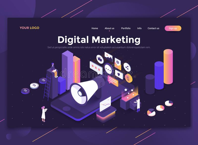Flat Modern design of website template - Digital Marketing. Modern flat design isometric concept of Digital Marketing for website and mobile website. Landing stock illustration