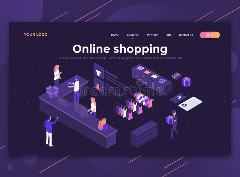 Flat Modern design of website template - Online shopping. Modern flat design isometric concept of Online shopping for website and mobile website. Landing page stock illustration