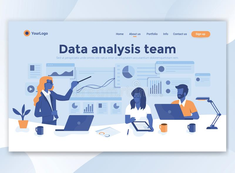 Flat Modern design of wesite template - Data analysis team stock illustration