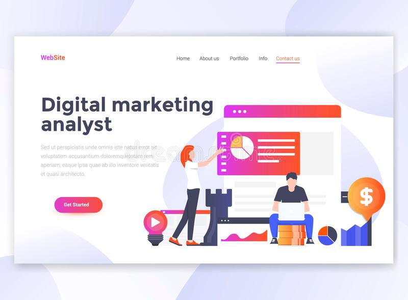 Flat Modern design of wesite template - Digital Marketing analyst. Landing page template of Digital Marketing analyst. Modern flat design concept of web page stock illustration