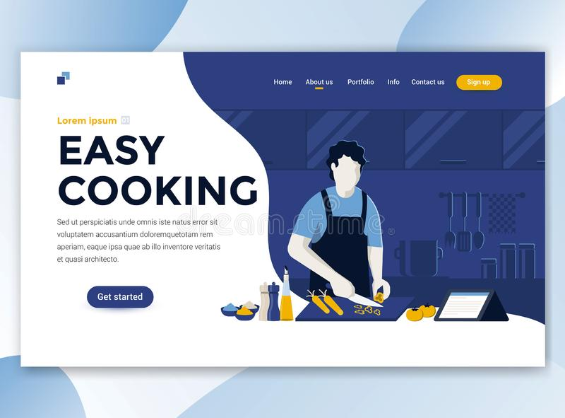 Flat Modern design of wesite template - Easy Cooking vector illustration
