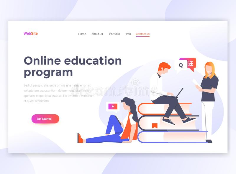 Flat Modern design of wesite template - Online Education program vector illustration