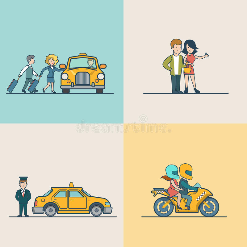 Flat Modern families catch cab service people. Flat Modern couple catching cab, motorcycle and VIP Taxi service vector illustration set. City Passenger stock illustration