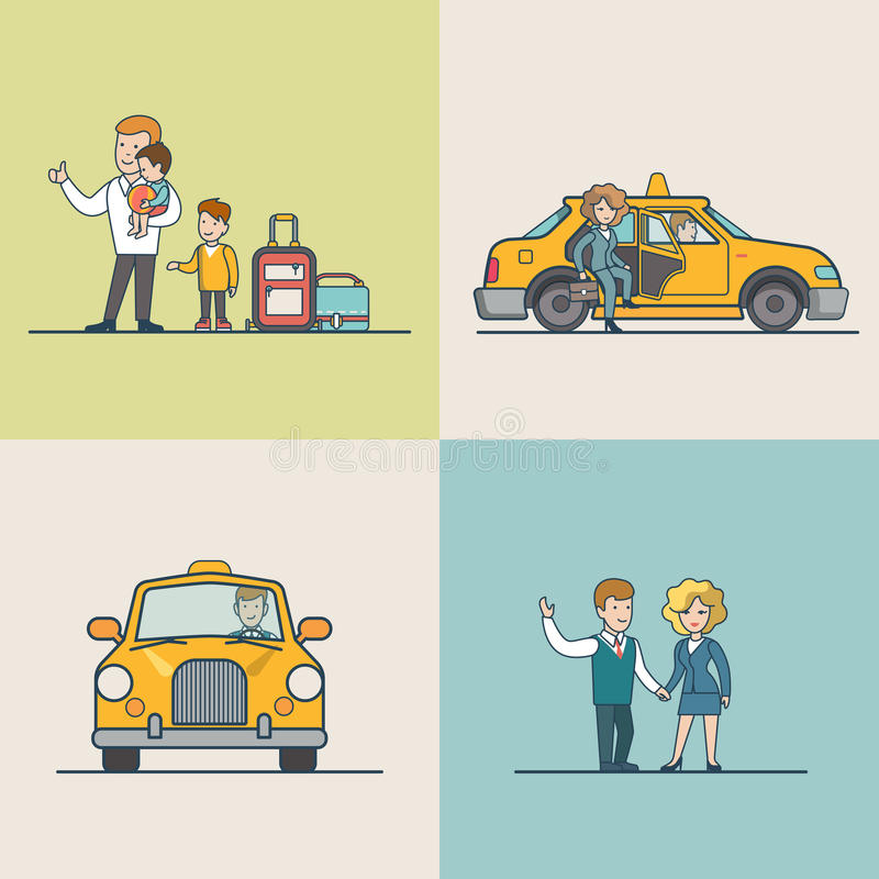 Flat Modern families catch cab service people. Flat Modern family and businesspeople catching Taxi, woman went out from cab vector illustration set. City stock illustration