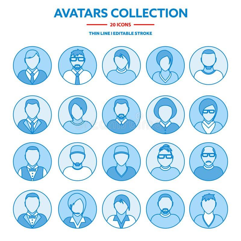 Flat modern minimal line avatar icons. Business concept, global communication. Web site user profile. Social media stock illustration