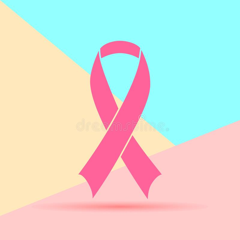 Flat modern minimal pink breast cancer awareness ribbon on blue and yellow pastel colored background royalty free illustration