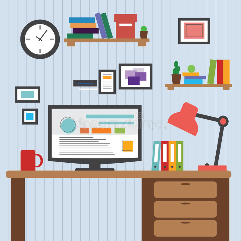 Flat Of Modern Office Interior Designer Desktop Showing Design Application With Interface Icons Elements In Minimalist Style