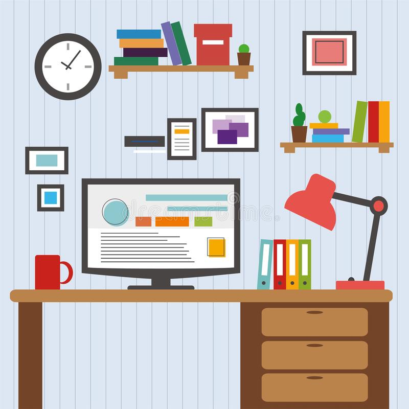 Flat of modern office interior designer desktop showing design application with interface icons elements in minimalist style and c. Flat design of modern office royalty free illustration
