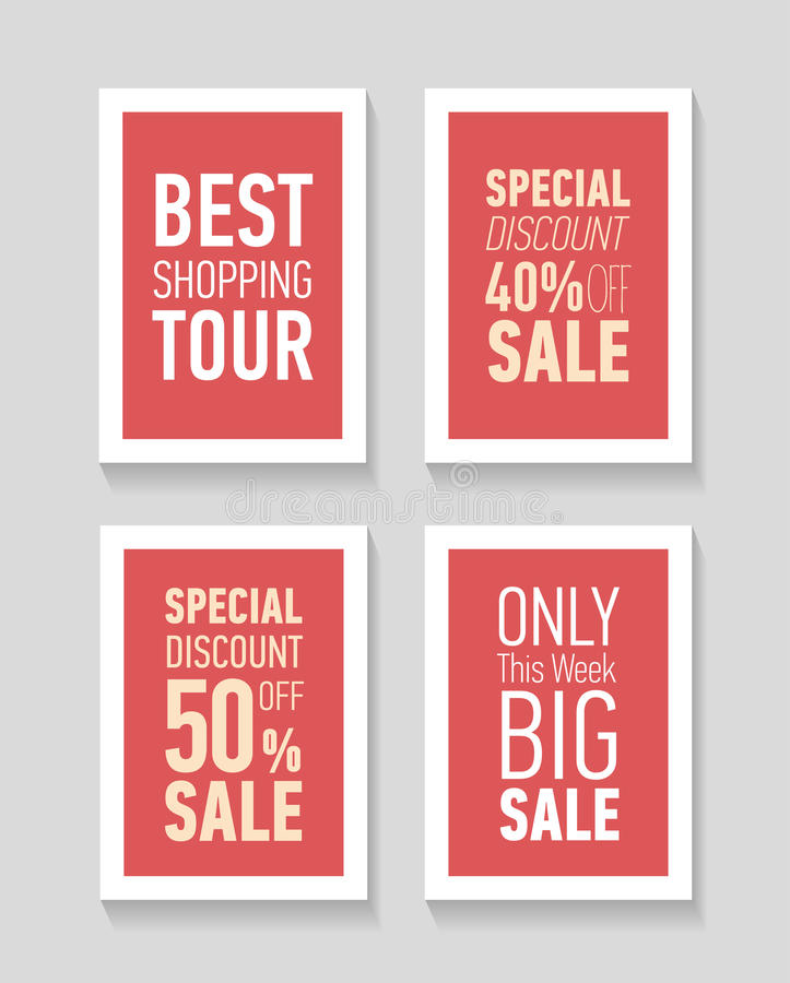 Flat modern sale posters. Best shopping tour. Special discount 50 off sale. Only this week big sale. vector illustration
