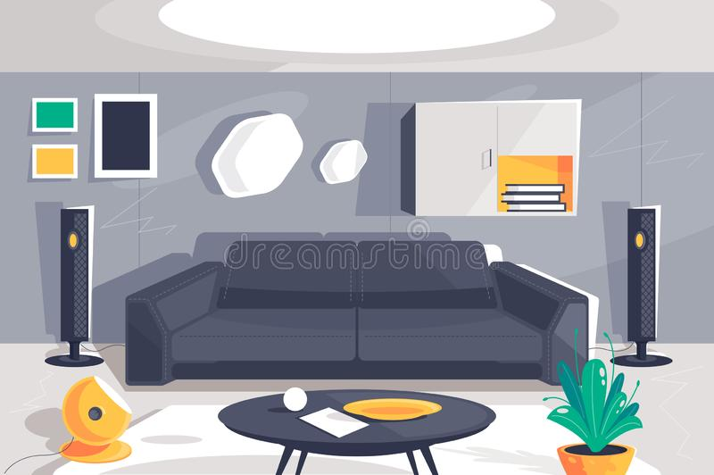 Flat modern urban room interior with home theater, sofa, plant, cupboard, table and lamp. vector illustration