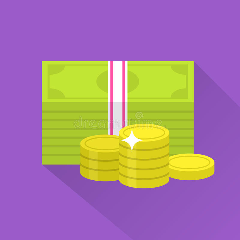 Flat money icon. Bundle of banknote money and coins. Icon with long shadow in cartoon style. Web and mobile design element. Cash, currency and dollar symbol vector illustration