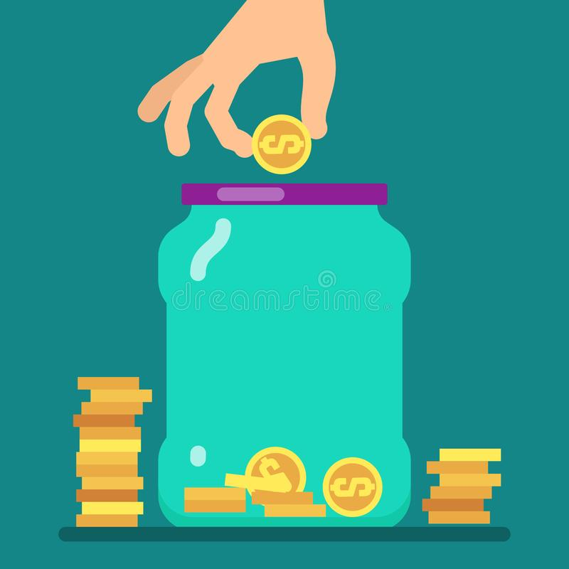 Flat money saving concept with golden coins and jar vector illustration royalty free illustration