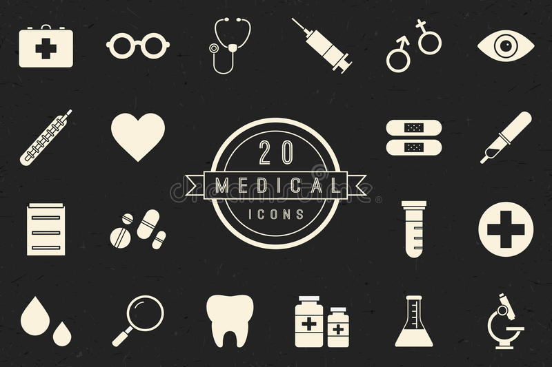 Flat Monochrome Medical Icons Collection stock image