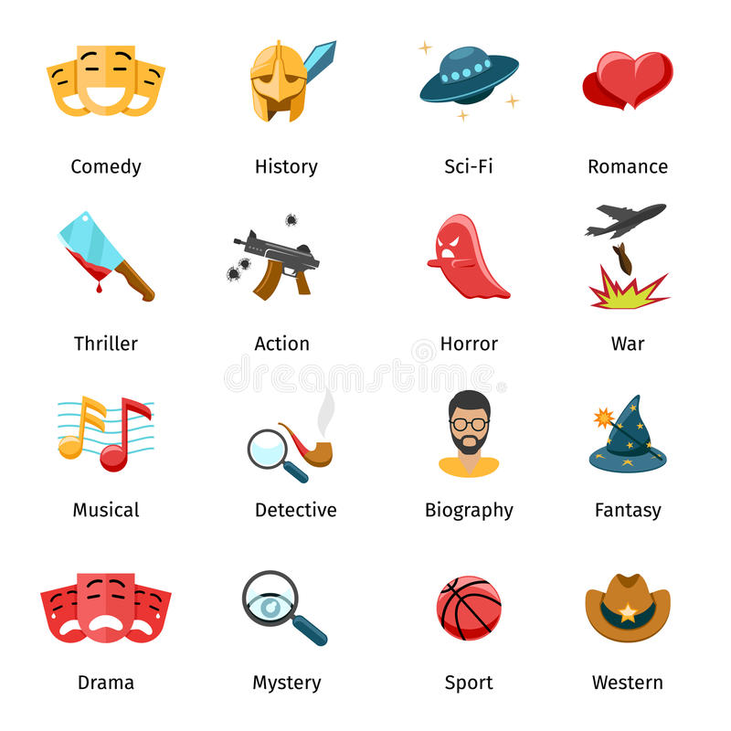 Flat movie genres vector icons. Sport and mystery, drama and fantasy, biography and war, horror and thriller illustration stock illustration