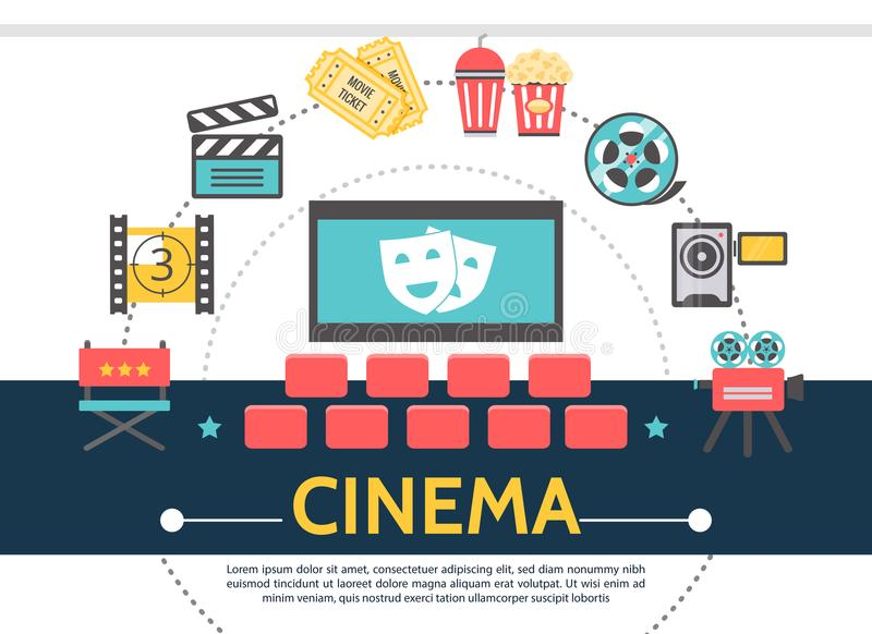 Flat Movie Template. With cinema hall director chair film reel clapboard tickets soda popcorn camera tragedy and comedy masks on screen vector illustration royalty free illustration