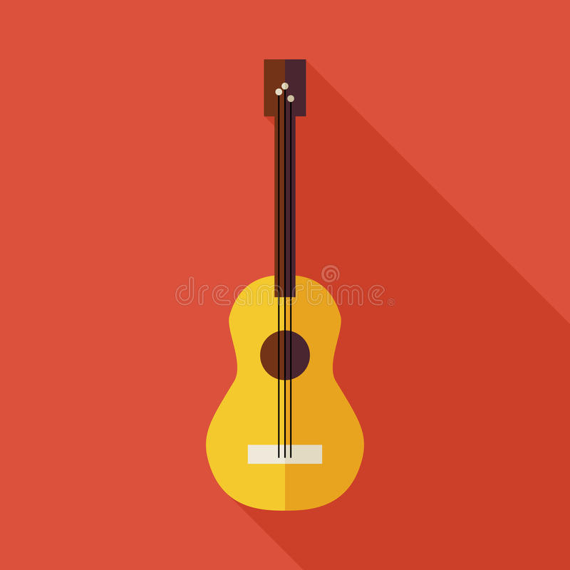 Free Flat Music String Guitar Illustration With Long Shadow Royalty Free Stock Image - 56105816