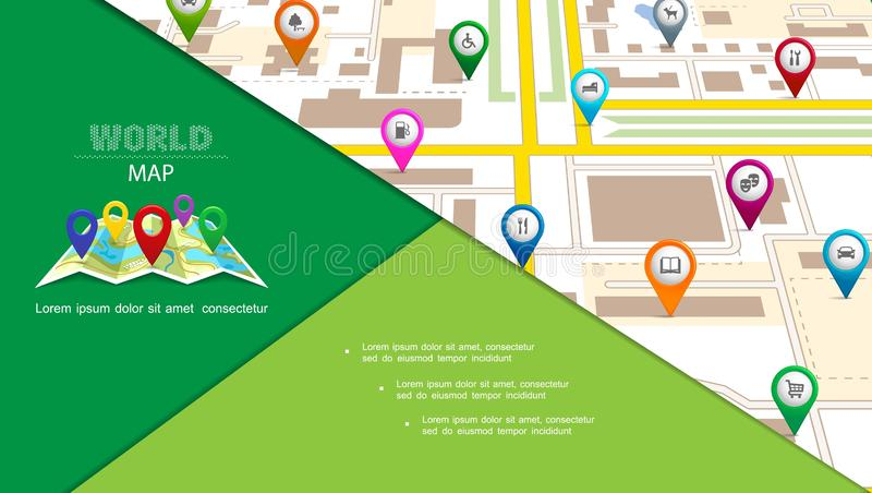Flat Navigation System Composition. With colorful pointers with location and destination icons on city map vector illustration stock illustration