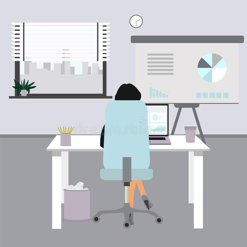 Flat office concept illustration. Business woman in office. Vector illustrator royalty free illustration
