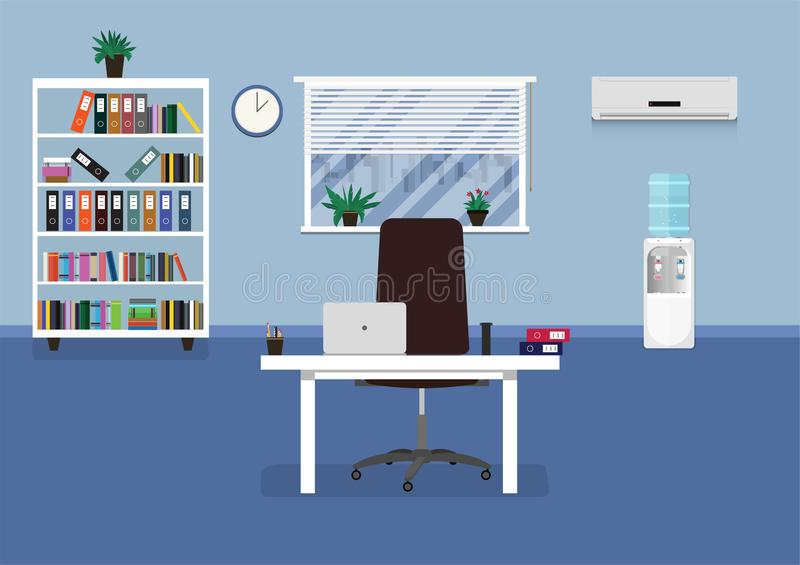 Flat office concept illustration. Vector illustration. Flat office concept illustration. Vector workplace modern design. Office interior with furniture. Vector stock illustration