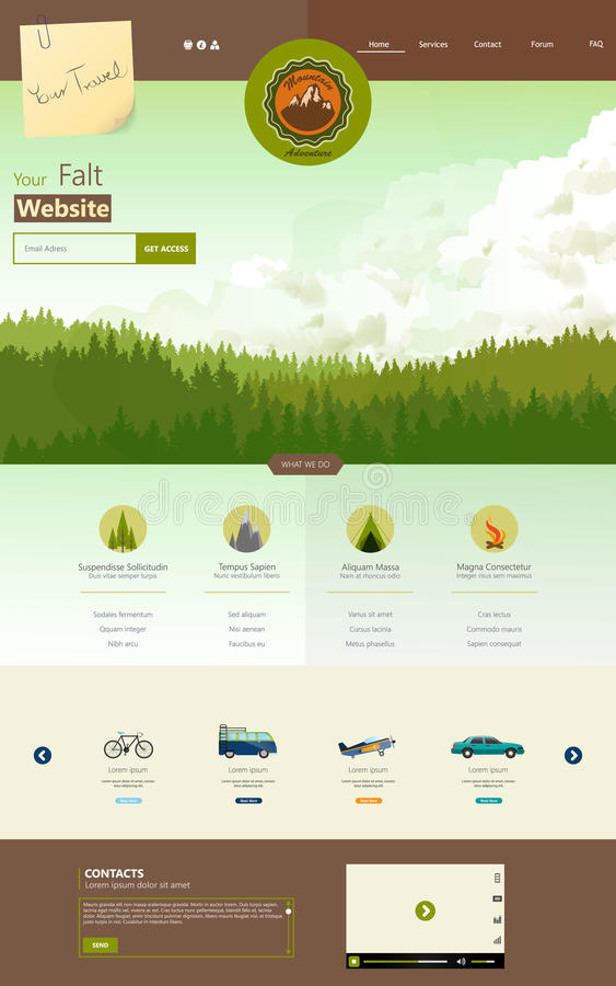 Flat One Page Website Template with pineforest background vector illustration
