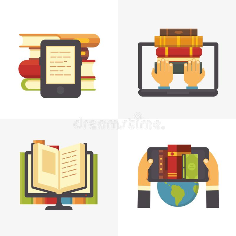 Flat online library. School library book access at laptop. Science education textbooks and digital books store vector royalty free illustration