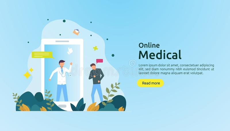 Flat online medical advice or health care service. Call doctor support concept with people character. template for web landing. Page, banner, presentation royalty free illustration