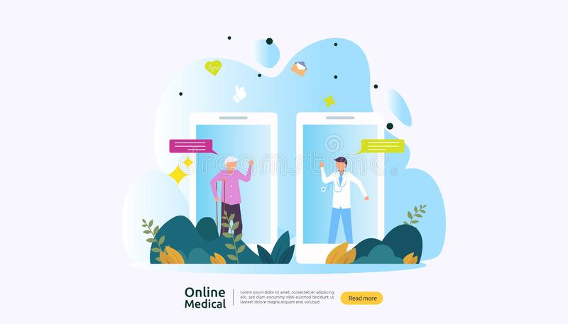 Flat online medical advice or health care service. Call doctor support concept with people character. template for web landing. Page, banner, presentation stock illustration