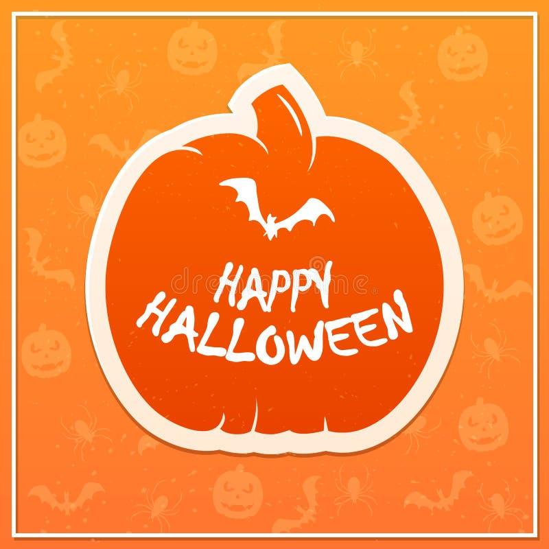 Flat orange pumpkin with inscription Happy Halloween and bat stock illustration