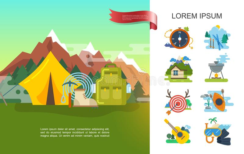 Flat Outdoor Recreation Concept royalty free illustration