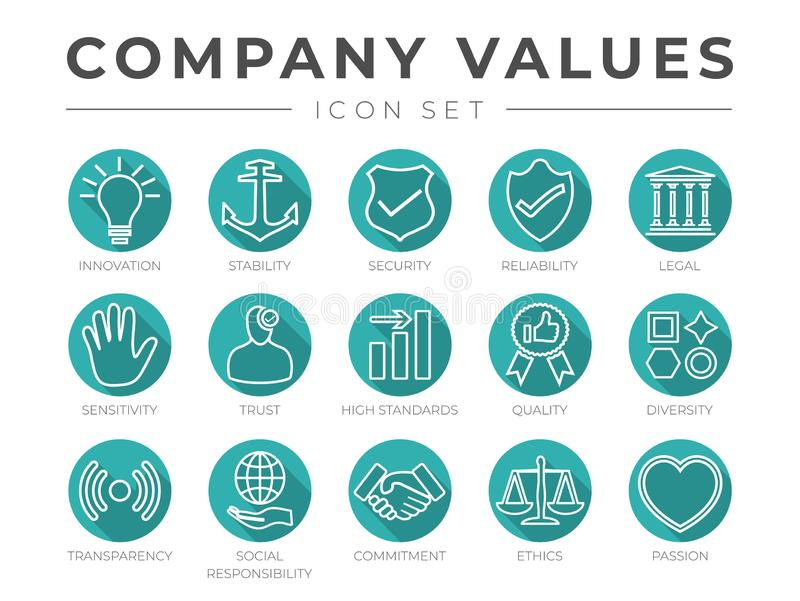 Flat Outline Company Core Values Icon Set Isolated. Innovation, Stability, Security, Reliability, Legal, Sensitivity, Trust, High vector illustration