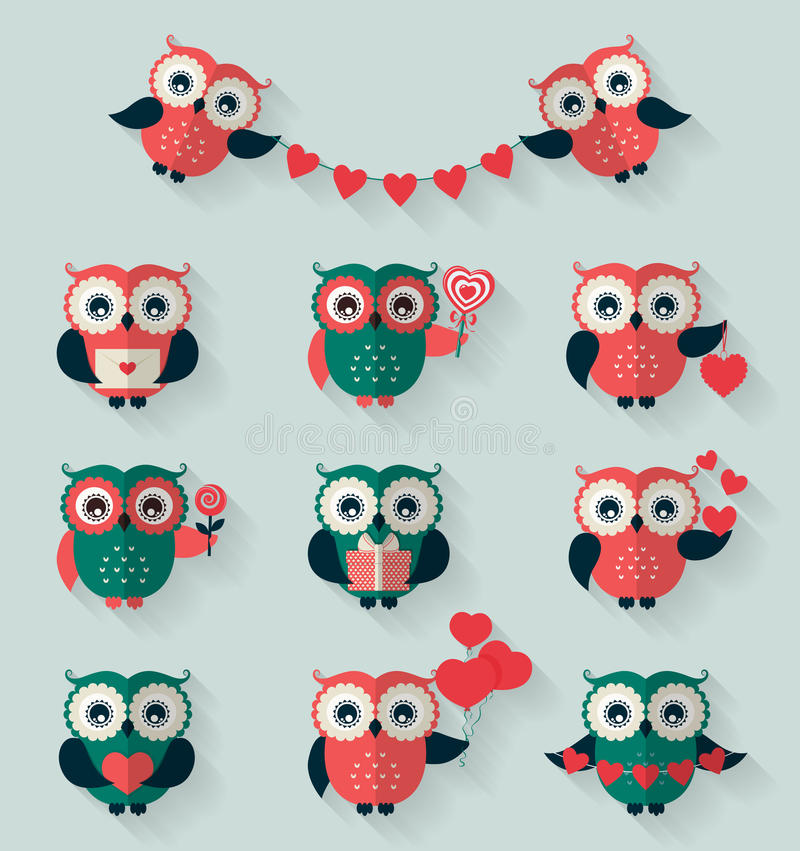 Flat owls. Love, romantic and Valentine's Day theme. Vector set. stock illustration
