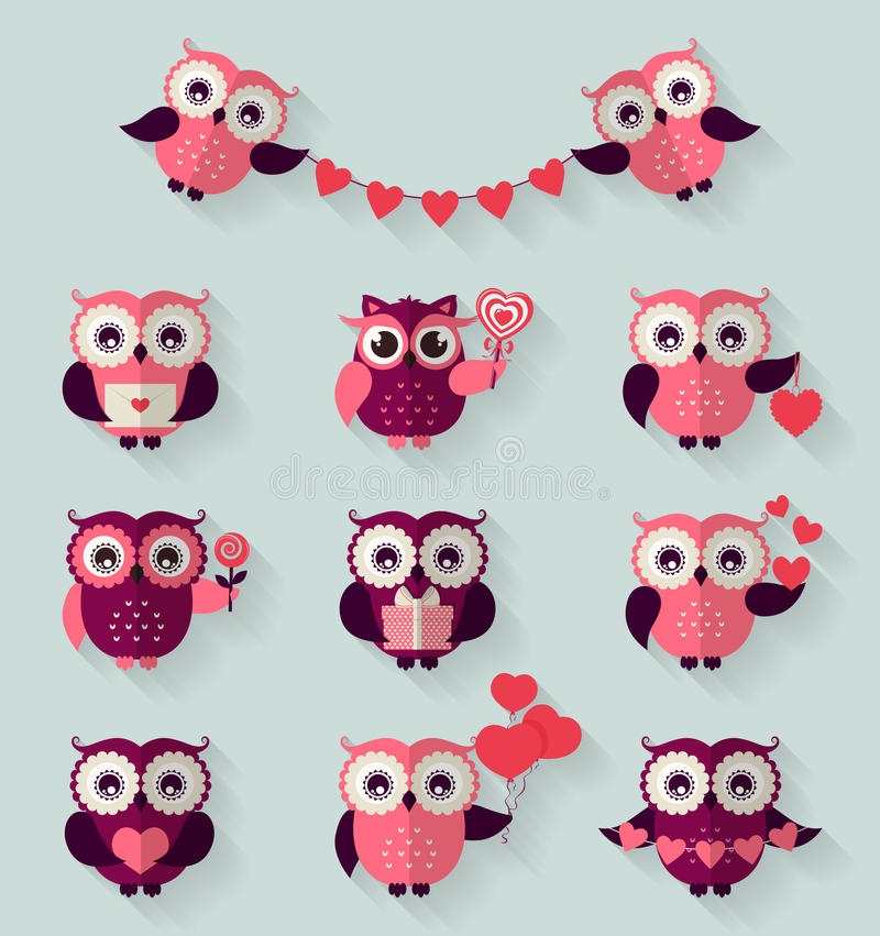 Flat owls. Love, romantic and Valentines Day theme. Vector set. royalty free illustration