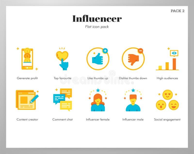 Flat pack delle icone di Influencer illustrazione di stock