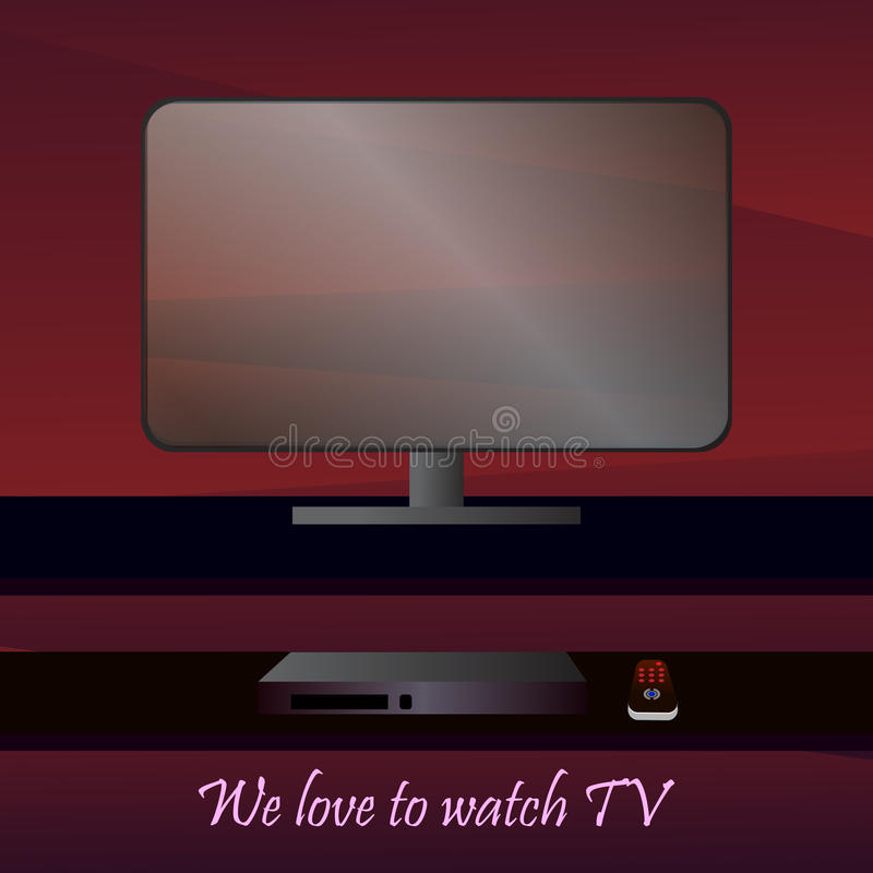 Flat-panel TV. Vector picture with a view of the flat-panel TV on the shelf with a remote control and vidio recorder royalty free illustration