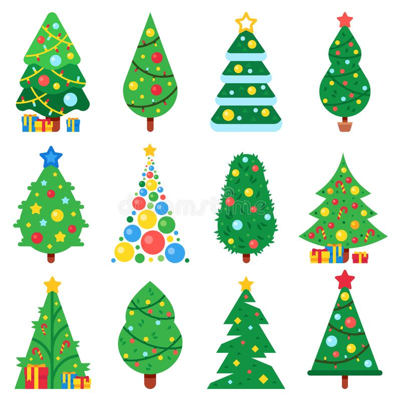 Flat paper christmas tree. Winter holidays trees decorated star, Xmas garlands and new year toys. Fir vector collection vector illustration