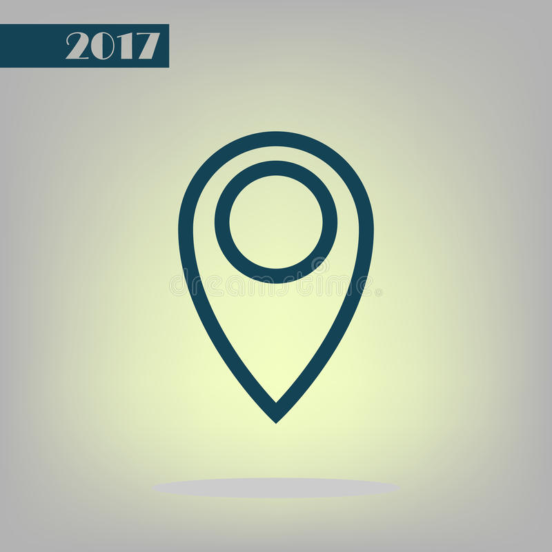 Flat paper cut style icon of map pointer. Illustration royalty free stock photography