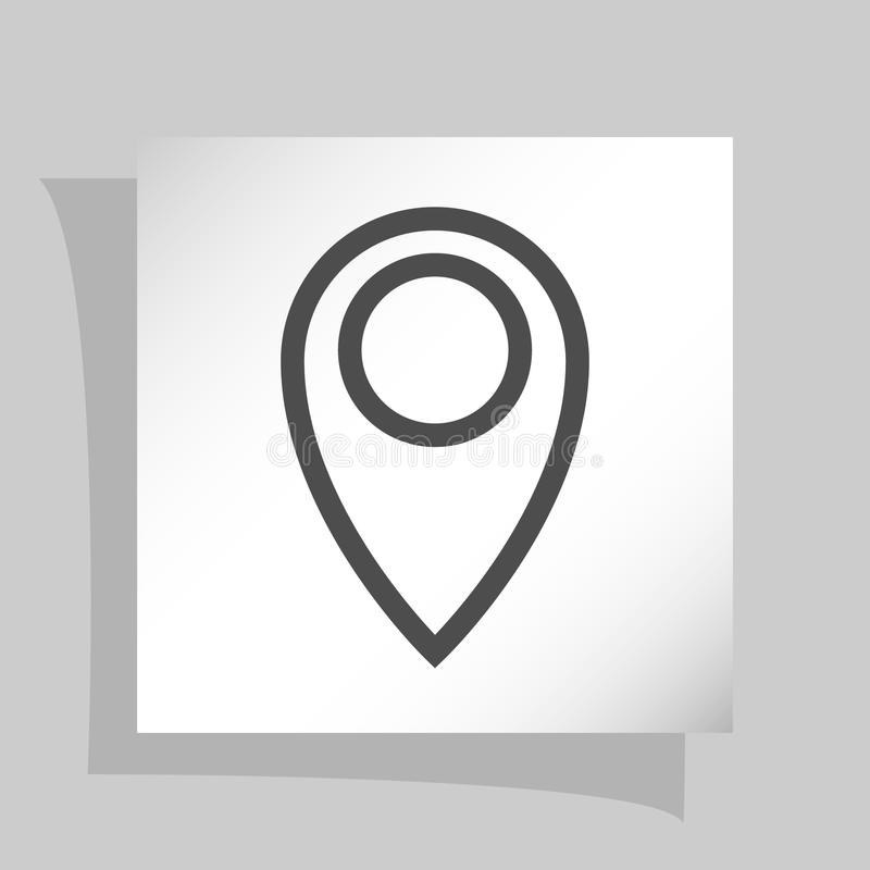 Flat paper cut style icon of map pointer. Illustration stock photography