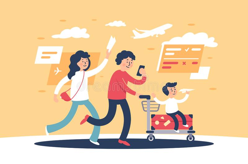 Flat parent with child and travel personal items late for plane. stock illustration