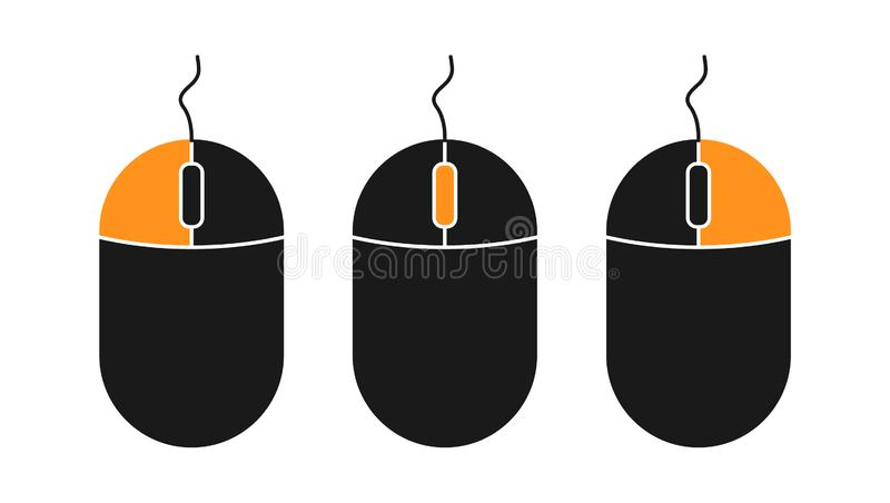 Flat pc mouse icon isolated on white background. Pc tool vector.  royalty free illustration