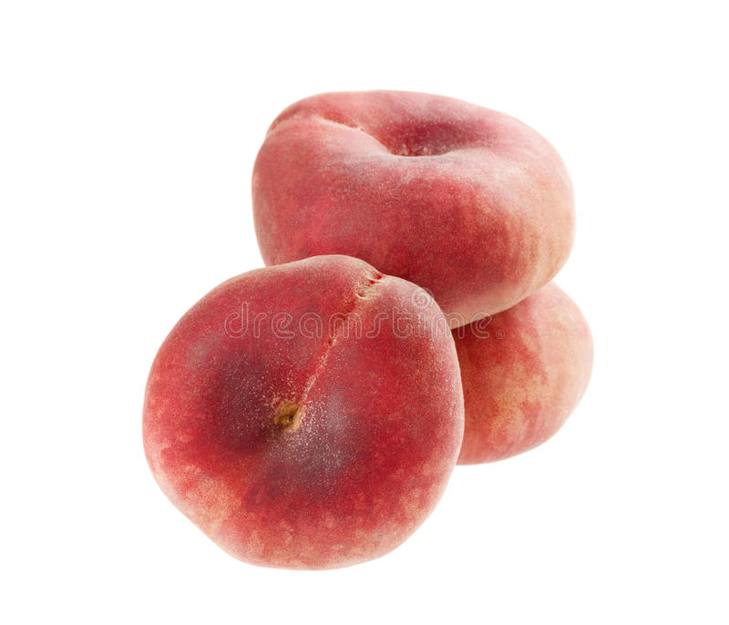 Flat peaches isolated stock images